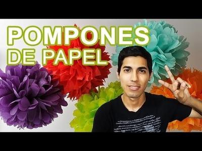 Cómo hacer Pompones de Papel de China. Tissue Paper Pom Poms