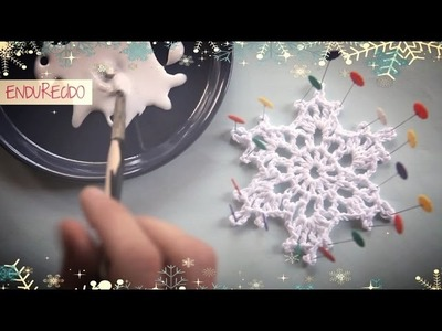 Como hacer un copo de nieve de ganchillo endurecido | How to make a crochet snowflake