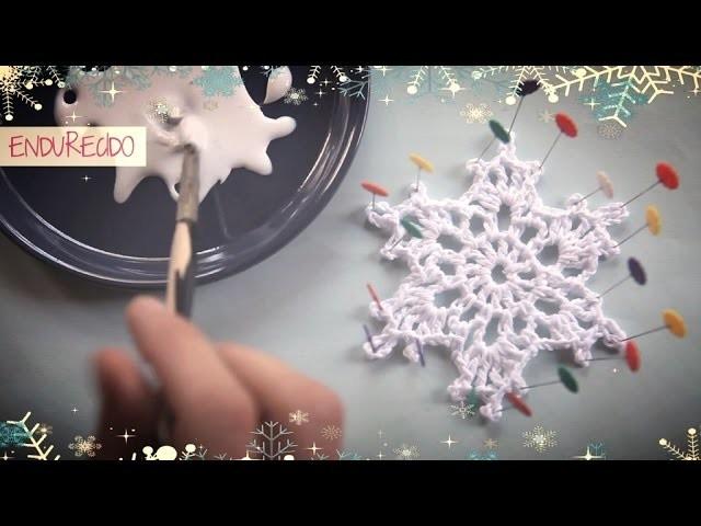 Como hacer un copo de nieve de ganchillo endurecido | How to make a crochet snowflake