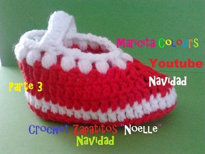 """Crochet Tutorial Bebe Zapatitos """"Noelle"""" (Parte 3) Navidad Escarpines"""