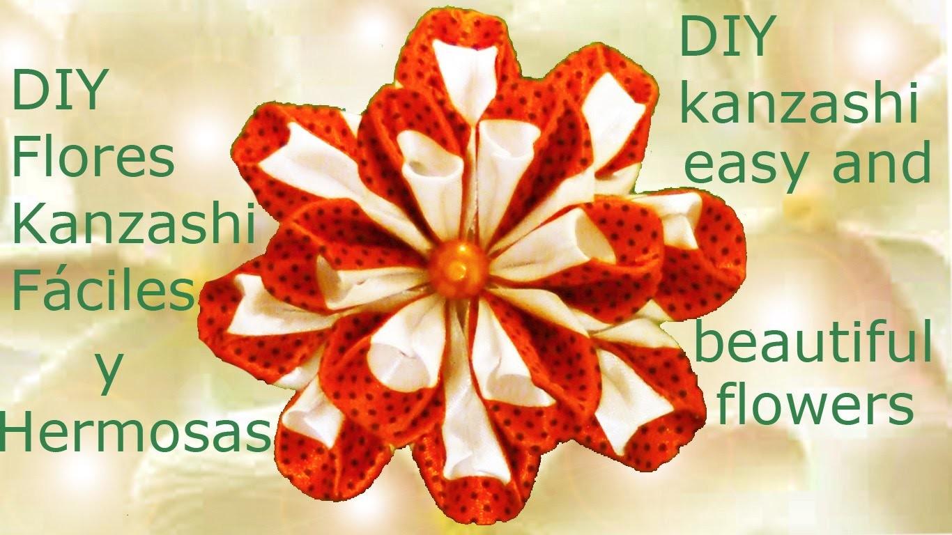 DIY flores Kanzashi fáciles y hermosas en cintas - Kanzashi easy and beautiful flowers in ribbons