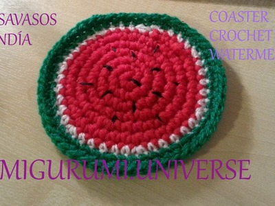 DIY Tutorial Posavasos Sandía. Coaster Crochet Watermelon (eng sub) by Amigurumi.Universe