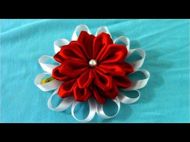 Flores Kanzashi hermosas rojas y blancas en tres capas