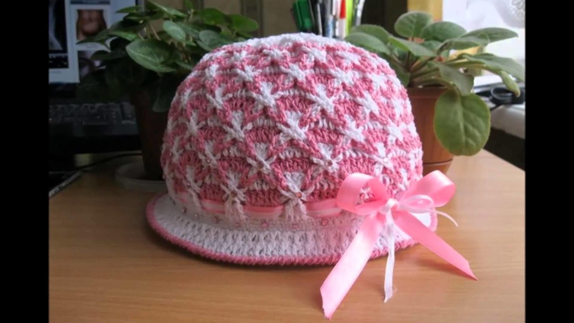 Gorros con flores tejidos a crochet para niñas a723ef7a73e