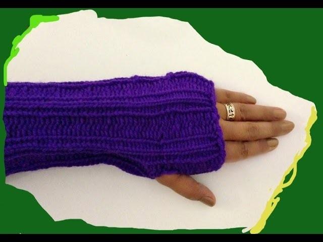Guantes sin Dedos en Telar. Mitones- FACIL - Fingerless Gloves. Mittens on a Loom in Spanish
