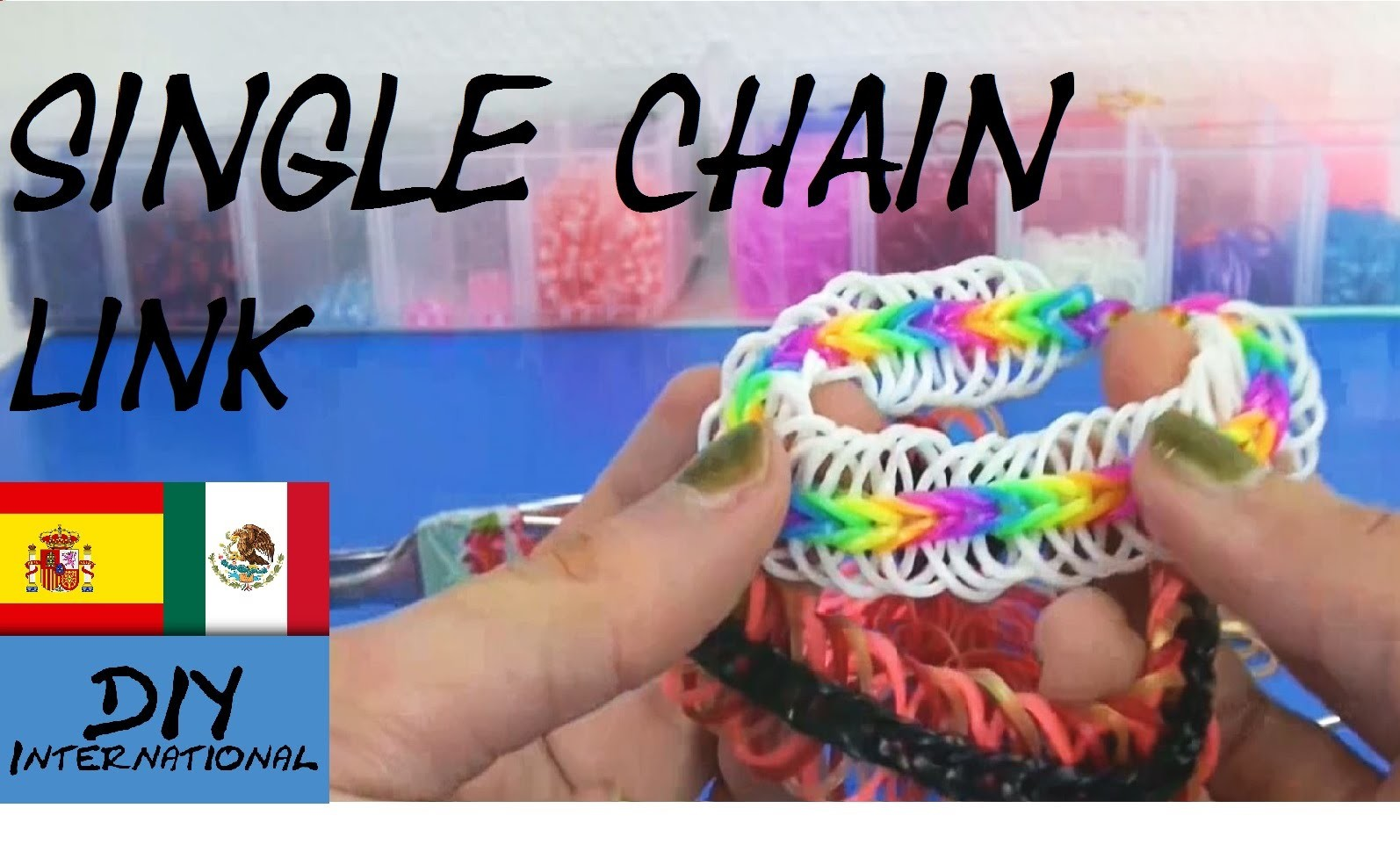 PULSERA DE GOMITAS SINGLE CHAIN LINK - CON TENEDORES - TUTORIAL EN ESPAÑOL - DIY