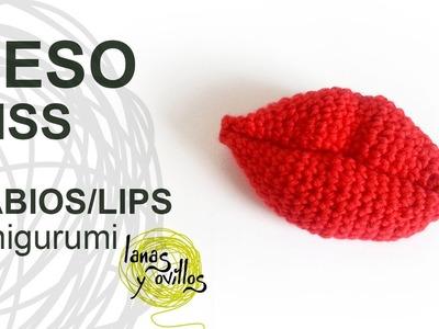 Tutorial Beso Kiss Labios Lips Amigurumi Crochet o Ganchillo (English Subtitles)