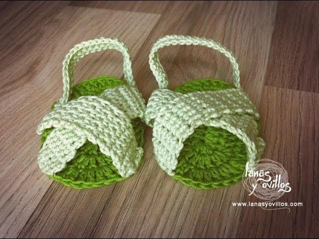 Tutorial Sandalias Bebé Crochet o Ganchillo Baby Sandals (English subtitles)