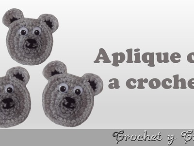 Aplique carita de oso tejido a crochet