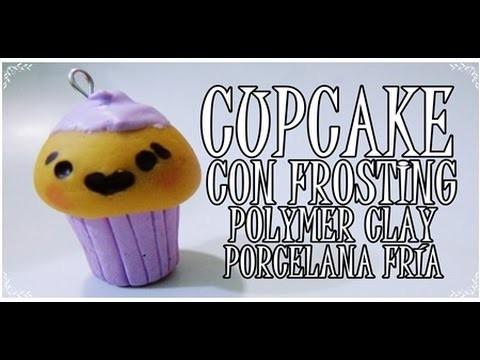 ♥ CUPCAKE CON FROSTING-POLYMER CLAY.PORCELANA FRÍA ♥