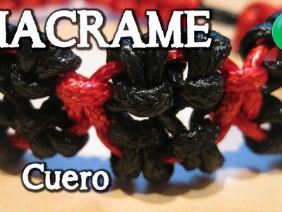 Pulsera de cuero Rojo. Negro | Macrame | Tutorial | DIY