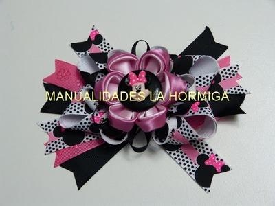 Accesorio cabello Niñas Minnie Mouse, con flores kanzashi en tela . Diseños Hormiguita