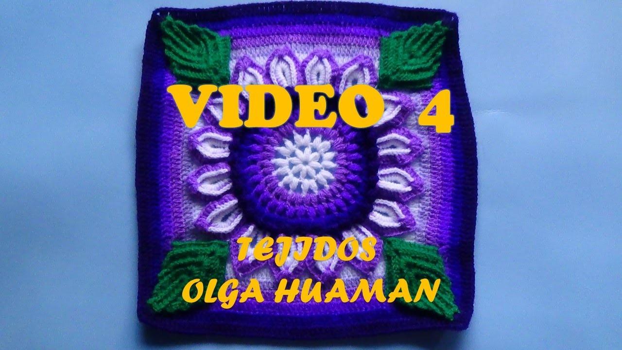 "Colcha tejido a crochet muestra ""flor de 16 pétalos"" video 4"