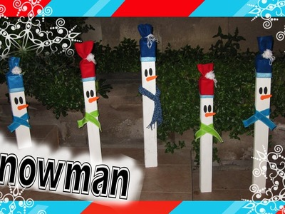 Decoración: Muñecos de Nieve. Wooden Christmas decorations: Snowman