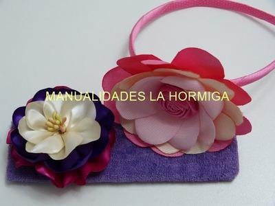 DIY flores de cinta o liston  para el cabello - tutorial paso a paso flores en cinta