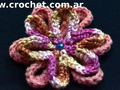Flor N° 24 en tejido crochet tutorial paso a paso.