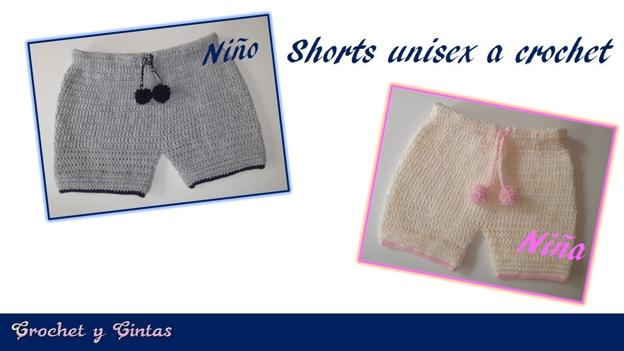 Pantalón corto – Bermuda – shorts unisex tejido a crochet