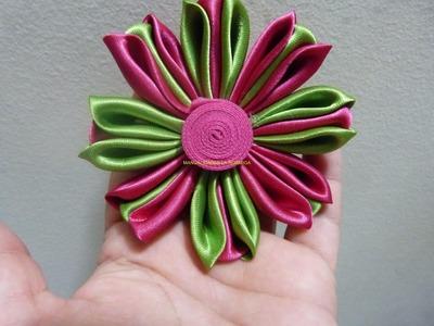 Tutorial Petalos flores  kanzashi para el cabello paso a paso No.151 Manualidadeslahormiga