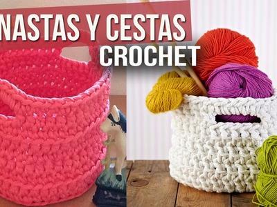 Canastas y Cestas Tejidas a Crochet o Ganchillo ( ideas y diseños )