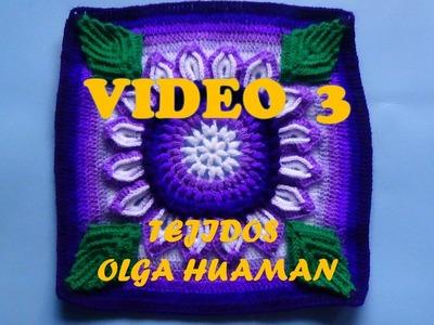"Colcha tejido a crochet muestra ""flor de 16 pétalos"" video 3"