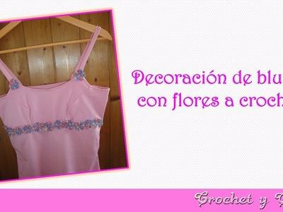 Cómo decorar blusa para verano con apliques de flores a crochet (ganchillo)