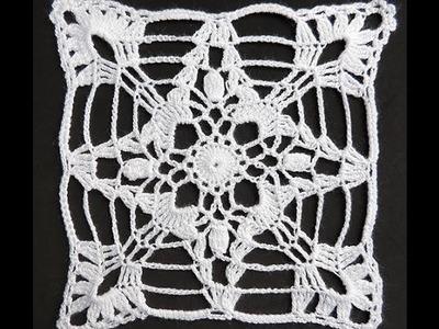 Crochet : Cuadrado # 7.  Parte 1 de 3