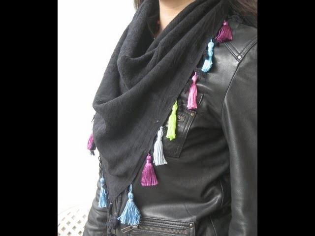 DIY Cómo hacer borlas para un pañuelo. Tassel scarf