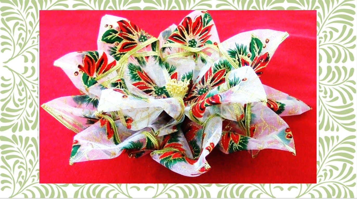 Flores de Navidad Christmas flowers kanzashi in ribbons