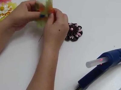 Moños redondos decorados con flores kanzashi para el cabello paso paso