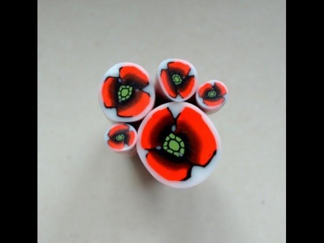 Murrina amapola en arcilla polimérica - Polymer clay poppy cane