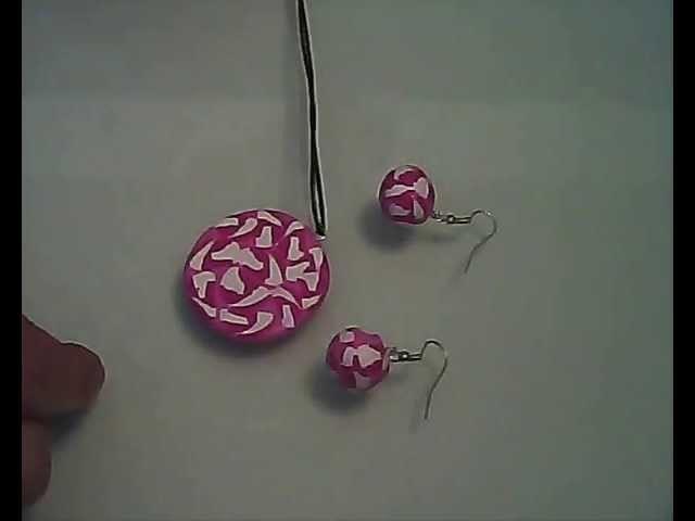 (Polymer Clay) Como Hacer un Colgante en Fimo. (Conjunto de Pendientes, Colgante y Anillo) nº 2