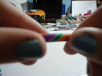 Tutorial piruleta arco iris fimo. polymer clay rainbow lollipop. lecca lecca arcobaleno in fimo