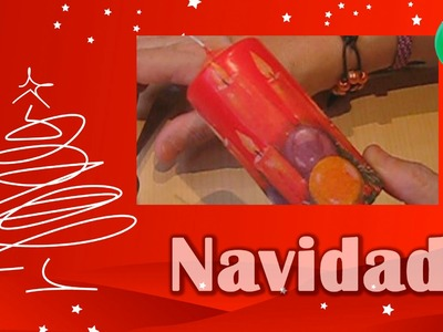 Vela navideña técnica de decoupage [English SUBS] | Navidad | Tutorial | DIY