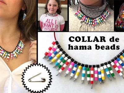 Collar de imperdibles y hama beads