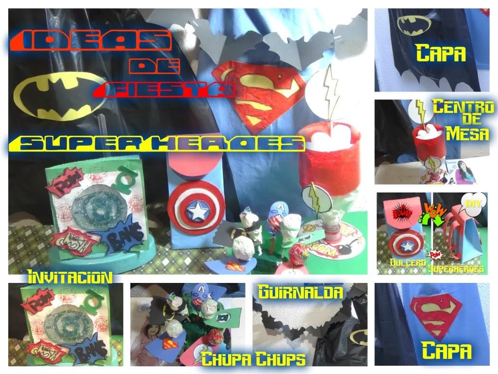 Ideas para Fiesta de Superheroes Tutorial DIY (Dulceros,Centro de Mesa,Invitacion,Capas,Guirnaldas)