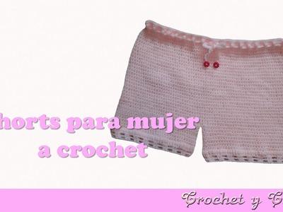Pantalón corto – Bermuda – shorts para mujer tejido a crochet