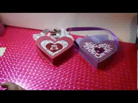 Cajita corazon scrapbook dulcero | corazones manualidades | Regalo novios original