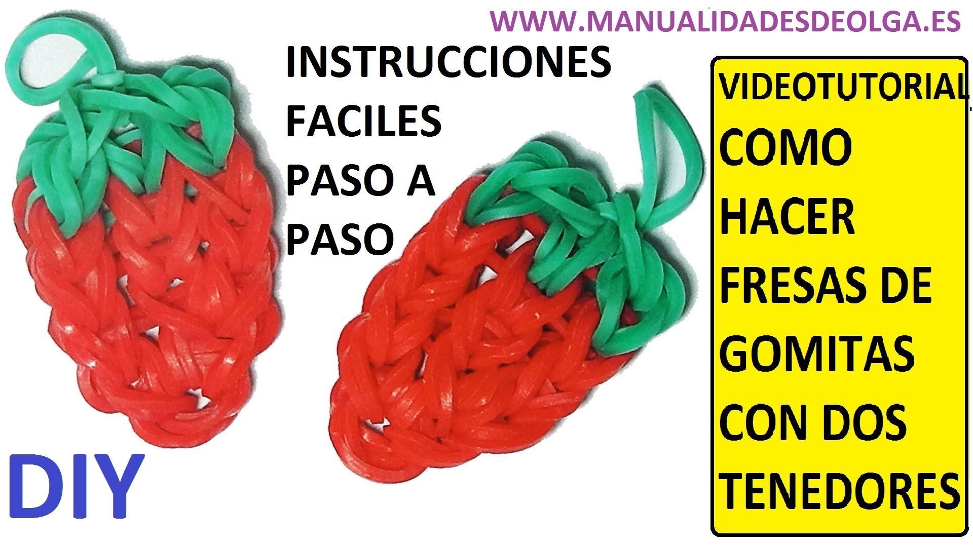 COMO HACER UNA FRESA DE GOMITAS (LIGAS) CHARMS CON DOS TENEDORES. VIDEOTUTORIAL DIY.