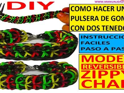 COMO HACER UNA PULSERA DE GOMITAS ZIPPY CHAIN CON 2 TENEDORES SIN TELAR RAINBOW LOOM