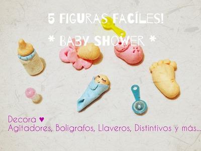 5 Figuras Faciles para Decoracion en Baby shower Principiantes. Cold porcelain baby