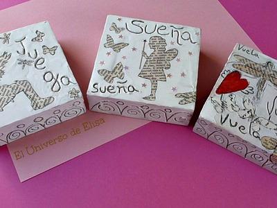 Cómo decorar con siluetas de papel, Triptico con texturas y siluetas.