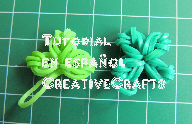 Como hacer un trebol de gomitas ( ligas, hules ) de 3 y 4 hojas SIN TELAR. Rainbow Loom charm.