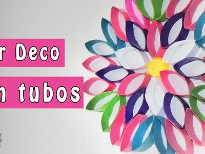 DIY: Flor DECO de tubos de papel! (decora tu recamara)
