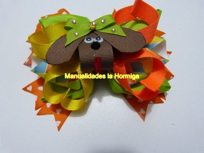 Moños grandes en cinta decorados con apliques miniatura. bows handmade hair