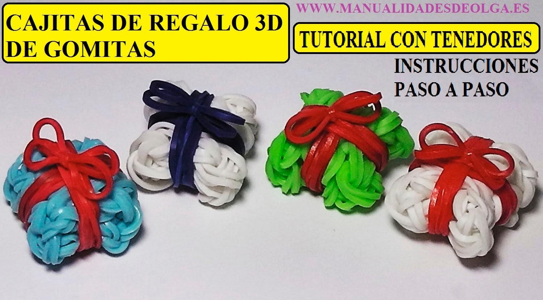 Como hacer una caja de regalo 3D de gomitas con dos tenedores sin telar rainbow loom