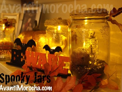 DIY Spooky Jars. Frascos Espeluznantes.Halloween decoracion. Pumpkin Jars. Fall Decor