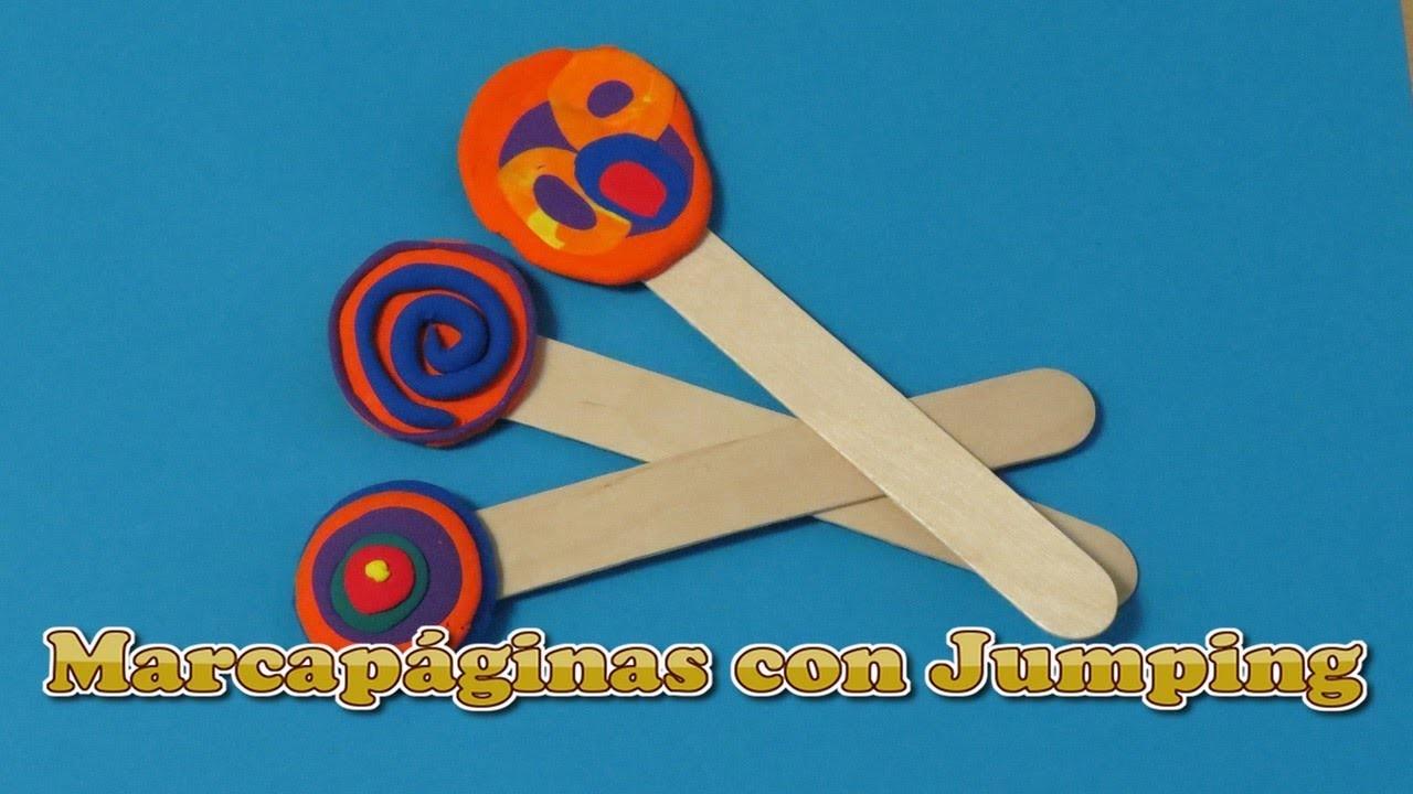 Marcapáginas con Jumping Clay. Manualidad fácil para niños