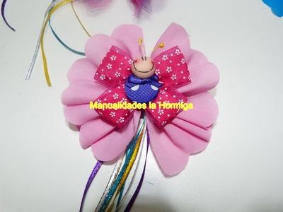 Moños en tela faciles decorados con mariposas de botones. butterfly buns