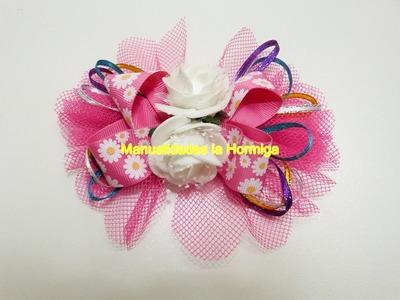 Moños tulle para el cabello  decorado con flores foamy  y cinta delgada de raso