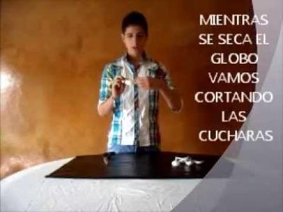 PANTALLA DE LAMPARA CON CUCHARAS PLASTICAS
